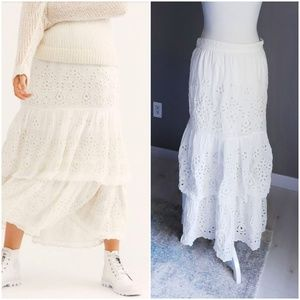 Free People Tiered Eyelet Maxi Skirt